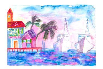 Key West Florida Pier mit farbigen Booten von Markus Bleichner