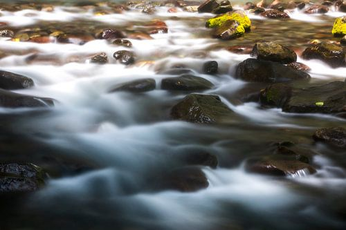 Rotsen onderaan de waterval op Lombok van