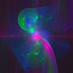 """Abstracte digitale fractal """"Gedachten gang"""" van Pat Bloom - Moderne 3D, abstracte kubistische en futurisme kunst"""
