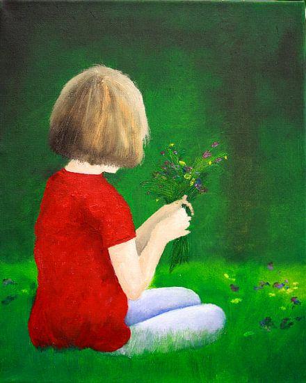 Mädchen pflückt Blumen van Andrea Meyer