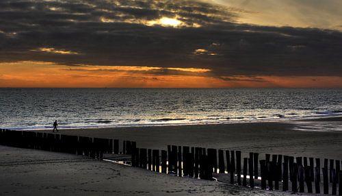 Man wandelt over het strand van Zoutelande