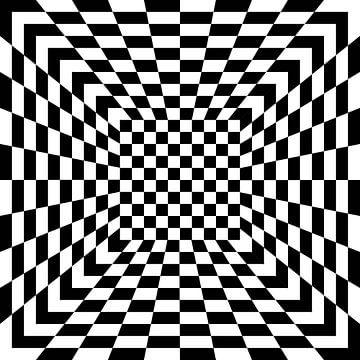 3D illusie met zwarte en witte tegels van Annavee