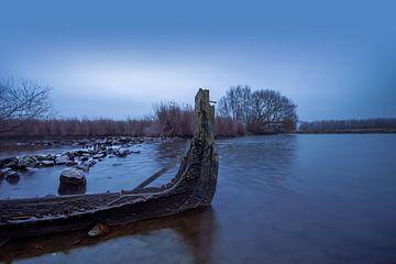oude gezonken vissersboot van Bert-Jan de Wagenaar