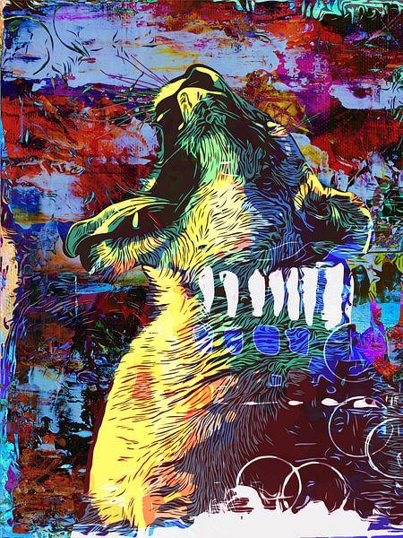 Grommende en brullende leeuw in popart stijl van Maureen Kroep