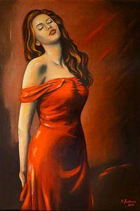 Schöne Lady im roten Kleid