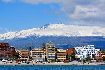 Mount Etna above Giardini Naxos van