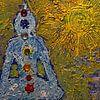 Boeddha in de zon met de zeven chakra's van Wieland Teixeira thumbnail