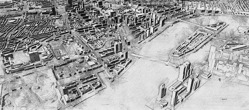 Skizze von Rotterdam mit Kop van Zuid, Erasmusbrug, Centrum und mehr. von Arjen Roos
