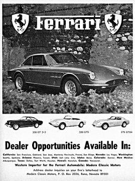 Ferrari 330 GT 2+2, 330 GTS & 275 GTB4 Werbung 1968 von Atelier Liesjes