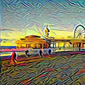 Kleurrijk kunstwerk van de pier van Scheveningen van Slimme Kunst.nl