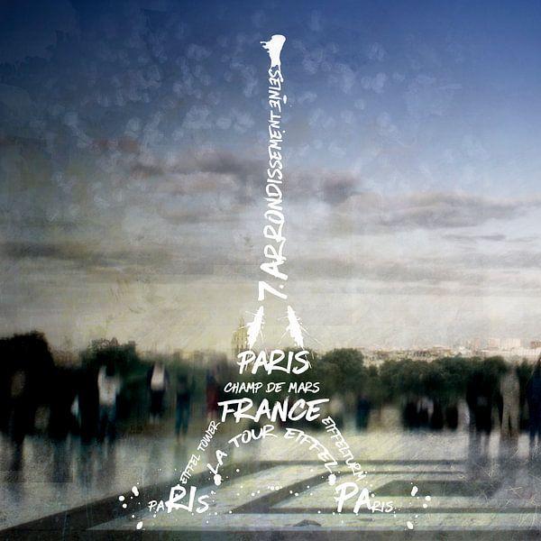 Digital-Art PARIS Eiffel Tower No.4 van Melanie Viola