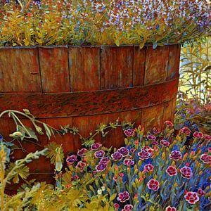 Holzfass voller Blumen von Patricia Piotrak
