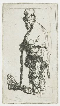 Stehender Bettler, an einen Stock gelehnt, links, Rembrandt van Rijn