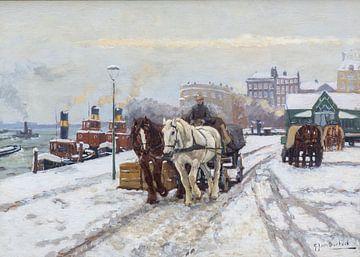 Een paardenkoets op een besneeuwde kade in Rotterdam van Atelier Liesjes