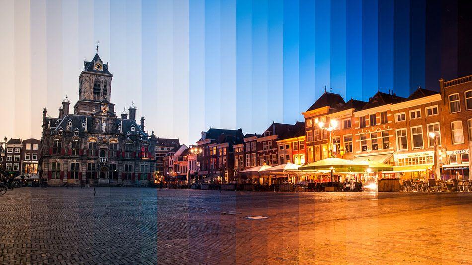 Zonsondergang over 2 uur in Delft van Hugo Onink