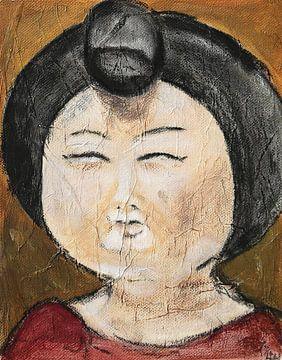 Een portret van een Chinese dikke dame  'Fat lady' II van Linda Dammann