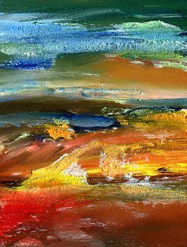 """Abstracte Schilderij """" Woedend """" van Claudia Gründler"""