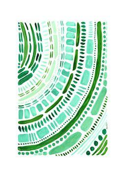 Abstract schilderij - aquarel - groene vormen von Hanneke van Buuren