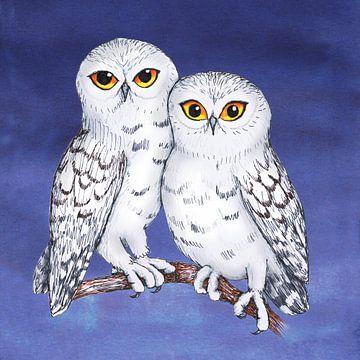 Twee sneeuwuilen van Bianca Wisseloo