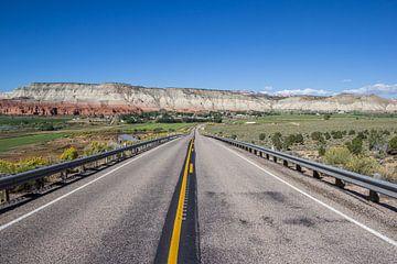 Straße durch die Wüstenlandschaft von Utah in den Vereinigten Staaten von Amerika von Marc Venema