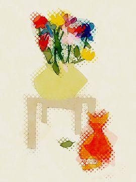 Blumenvase auf Tisch mit Katze