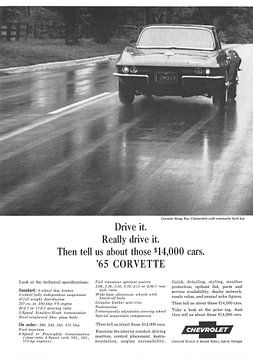Publicity vintage 1965 CORVETTE sur Jaap Ros
