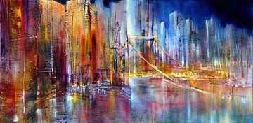 Stadsgezicht met hangbrug van Annette Schmucker