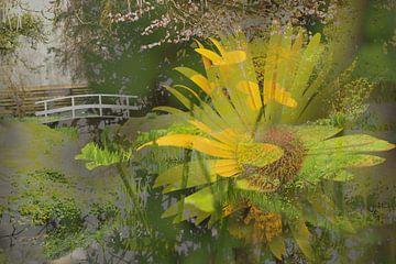 atmosphärische Collage aus Blumen und Bäumen von Herman Kremer