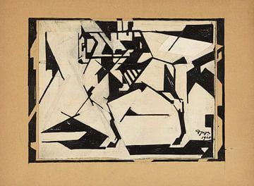 Reijer Stolk, Ruiter, pen in zwart, potlood, 1920 van Atelier Liesjes