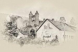 De Bertradaburg in Mürlenbach (Eifel / Duitsland) (sepia)