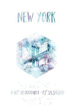 Coordonne l'aquarelle du pont de Manhattan à New York sur Melanie Viola