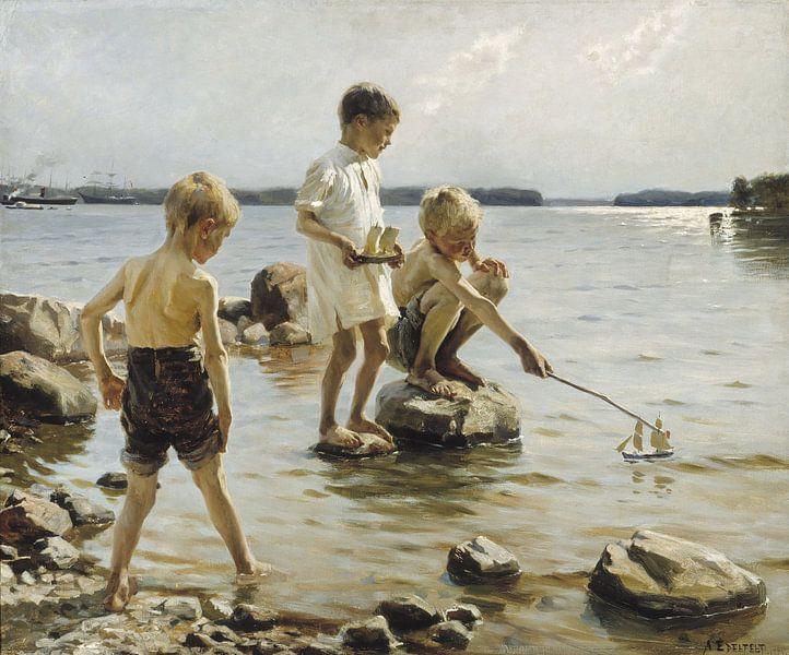 Jongens die aan de kust spelen, Albert Edelfelt van Meesterlijcke Meesters