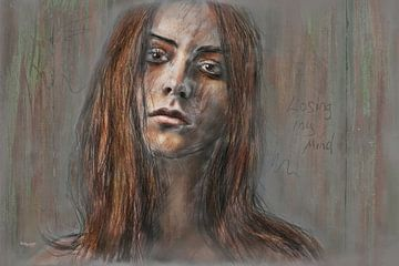 Portret van een jonge vrouw van Stefan teddynash