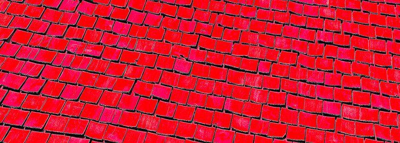 Rechthoekige uitsnede van een oud Zweeds houten dak van arjan doornbos