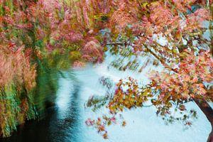 Artistieke herfstwind door de bomen
