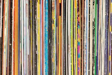 Vintage Gebruikte Vinyl Rock Record Collectie Kleur strepen van Andreea Eva Herczegh