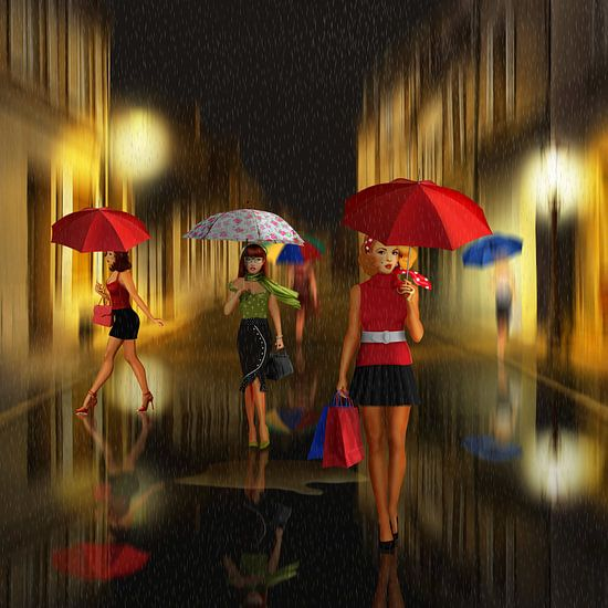 Dames winkelavond in de regen van Monika Jüngling