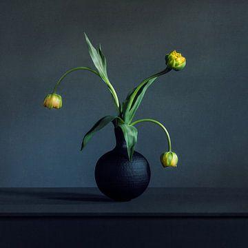 Gelbe Tulpen in einer schwarzen Vase von Mariska Vereijken