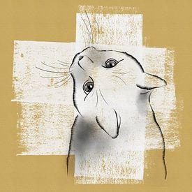 Dessin au stylo d'un chat sur de la peinture blanche sur Lida Bruinen