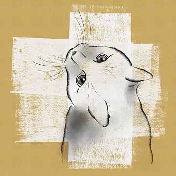 Federzeichnung einer Katze auf weißer Farbe von Lida Bruinen