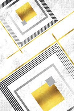 Geometrische Art No. 6 goud van Melanie Viola