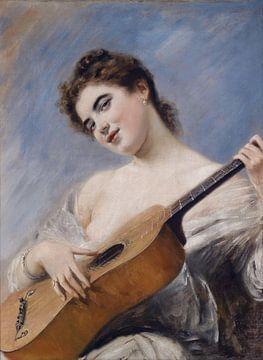 Die Gitarrenspielerin, Franz Russ junior - 1887 von Atelier Liesjes