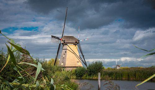 Molen bij Kinderdijk in het zonnetje, Nederland