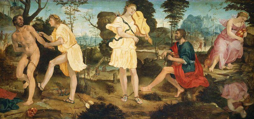 Apollo und Marsyas, Michelangelo Anselmi von Meesterlijcke Meesters