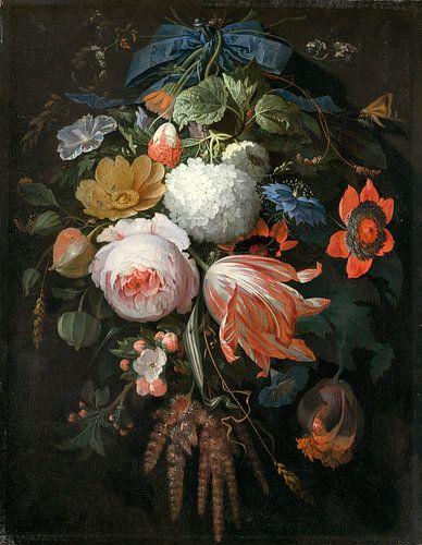 Een hangend boeket van bloemen, Abraham Mignon