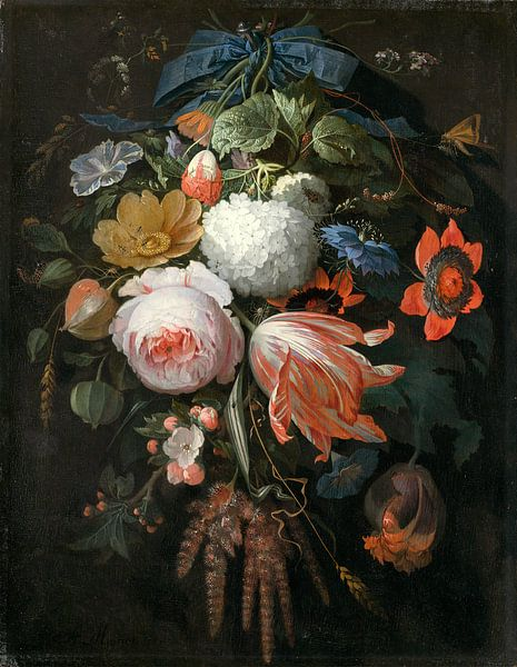 Een hangend boeket van bloemen, Abraham Mignon van Liszt Collection