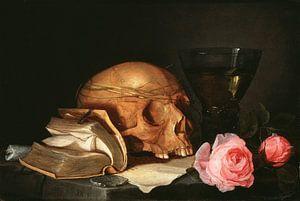 Jan Davidsz. de Heem. Ein Vanitas Stillleben mit einem Schädel, ein Buch und Rosen