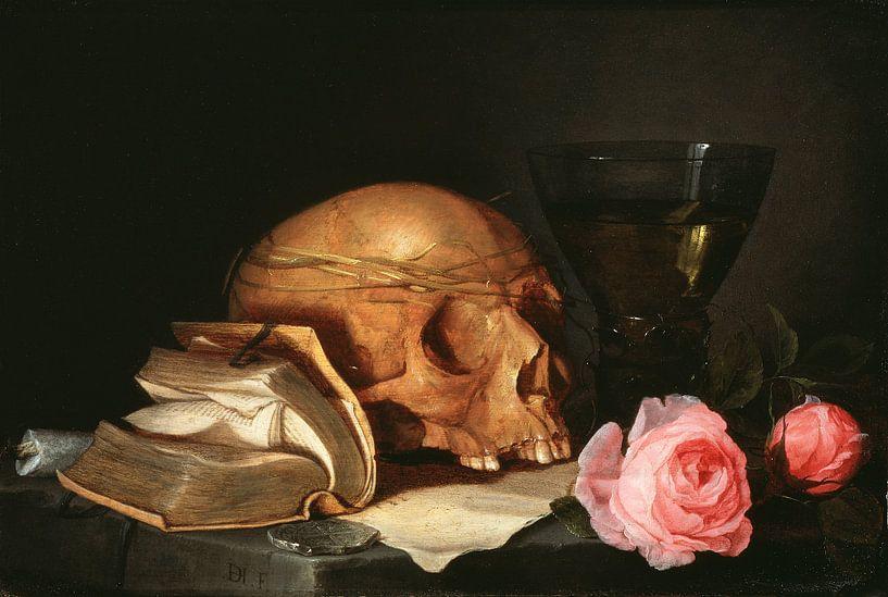 Jan Davidsz. de Heem. Ein Vanitas Stillleben mit einem Schädel, ein Buch und Rosen von 1000 Schilderijen