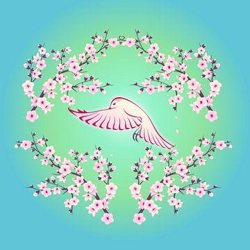 Kirschblüte mit Vogel van Nina Baydur