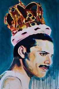 Freddie Mercury portret schilderij Zanger Queen van Angela Peters